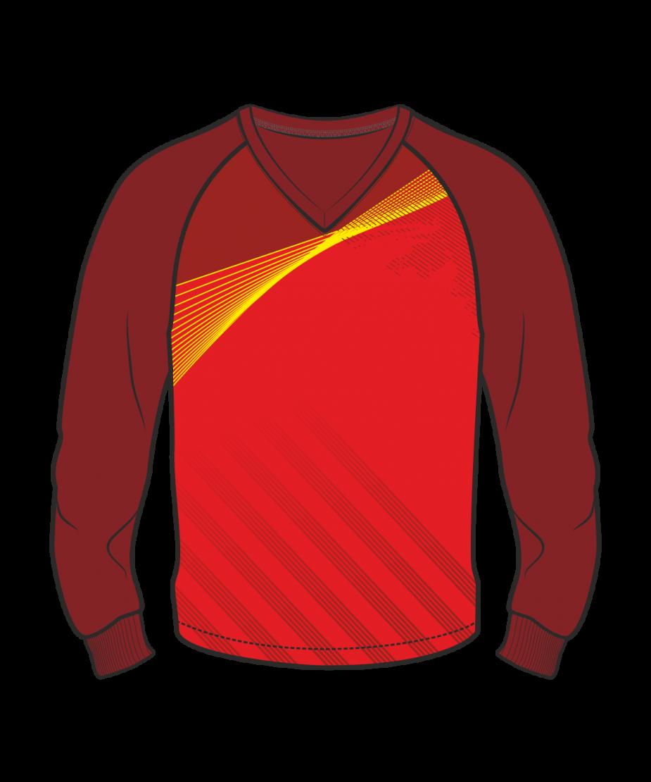 Футболка с длинным рукавом 206 реглан расцветка1 темно-красная
