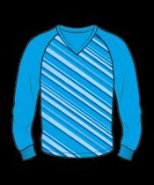 Футболка с длинным рукавом 206 реглан расцветка2 голубая