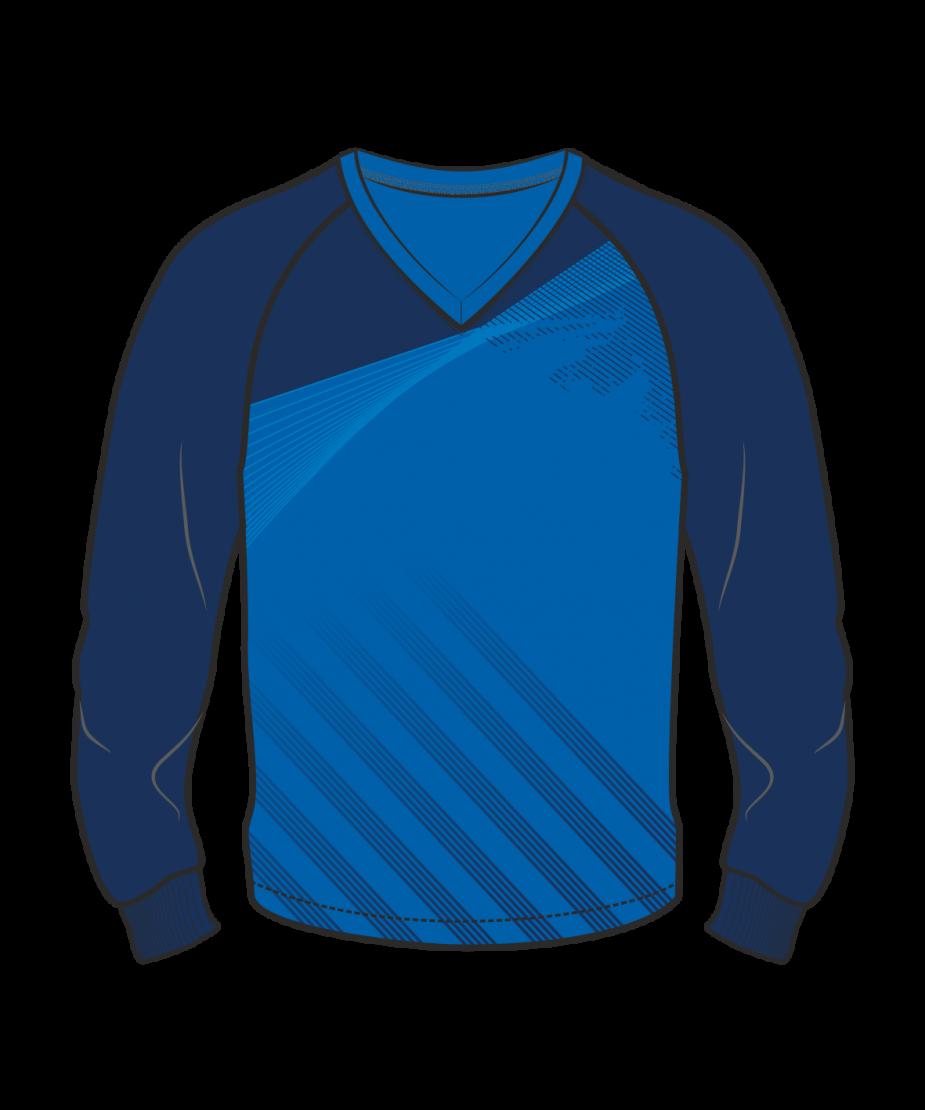 Футболка с длинным рукавом 206 реглан расцветка1 синяя