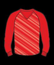Футболка с длинным рукавом 206 реглан расцветка2 красная