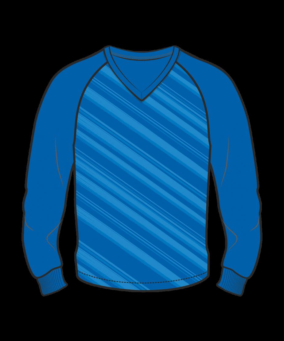 Футболка с длинным рукавом 206 реглан расцветка2 синяя
