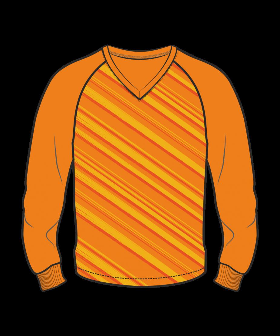 Футболка с длинным рукавом 206 реглан расцветка2 оранжевая