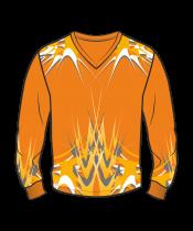 Футболка с длинным рукавом 207 втачной рукав расцветка2 оранжевая