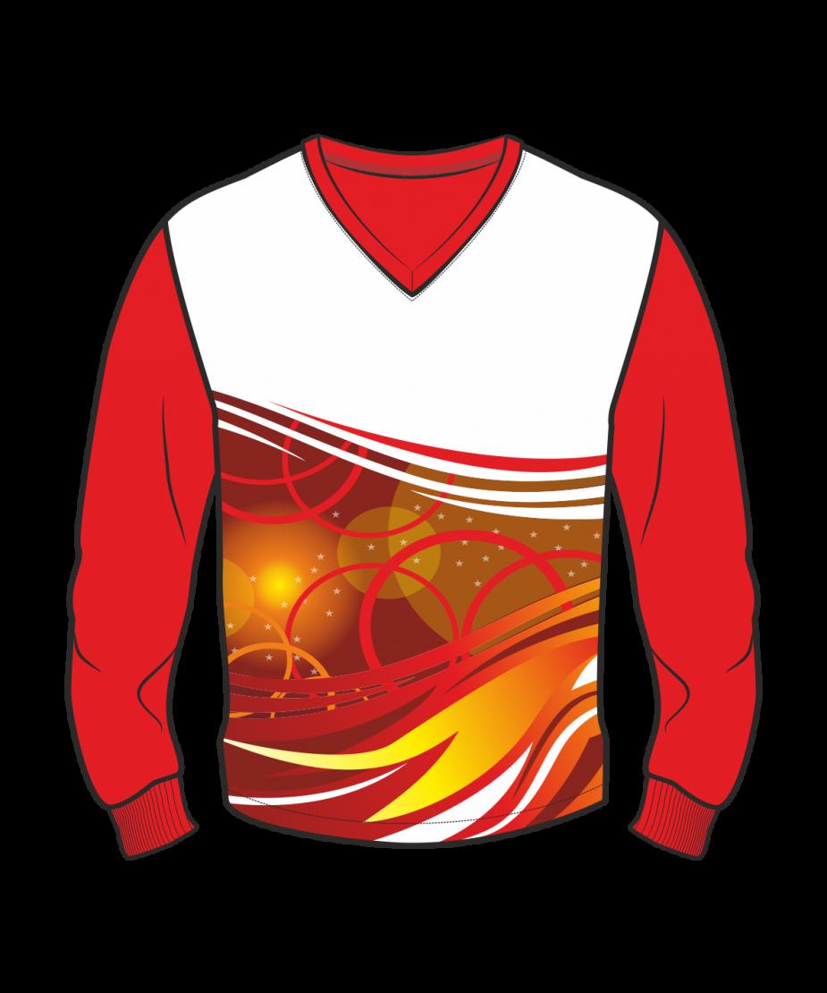 Футболка с длинным рукавом 207 втачной рукав расцветка5 красная