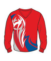 Футболка с длинным рукавом 207 втачной рукав расцветка4 красная