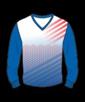 Футболка с длинным рукавом 207 втачной рукав расцветка3 синяя