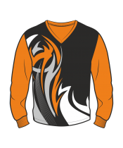 Футболка с длинным рукавом 207 втачной рукав расцветка4 оранжевая