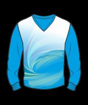 Футболка с длинным рукавом 207 втачной рукав расцветка1 синяя