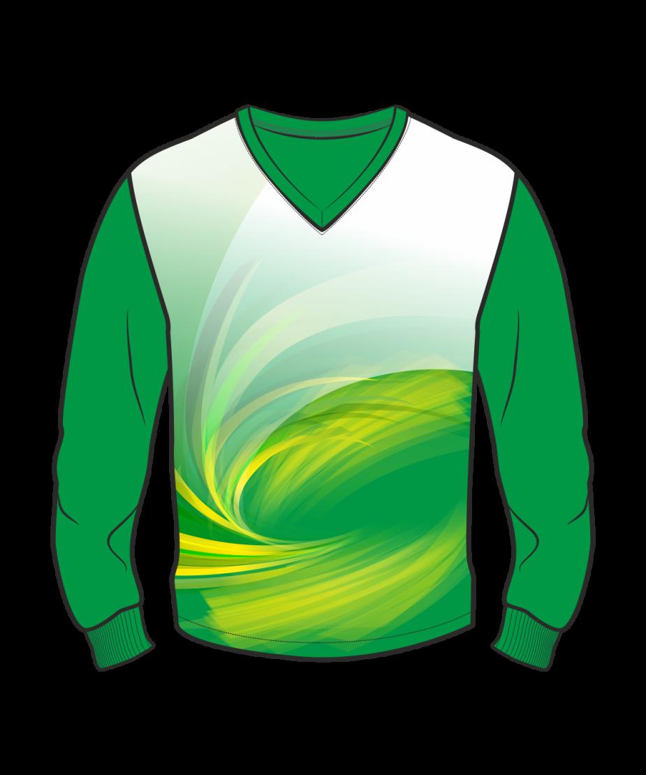Футболка с длинным рукавом 207 втачной рукав расцветка1 зеленая