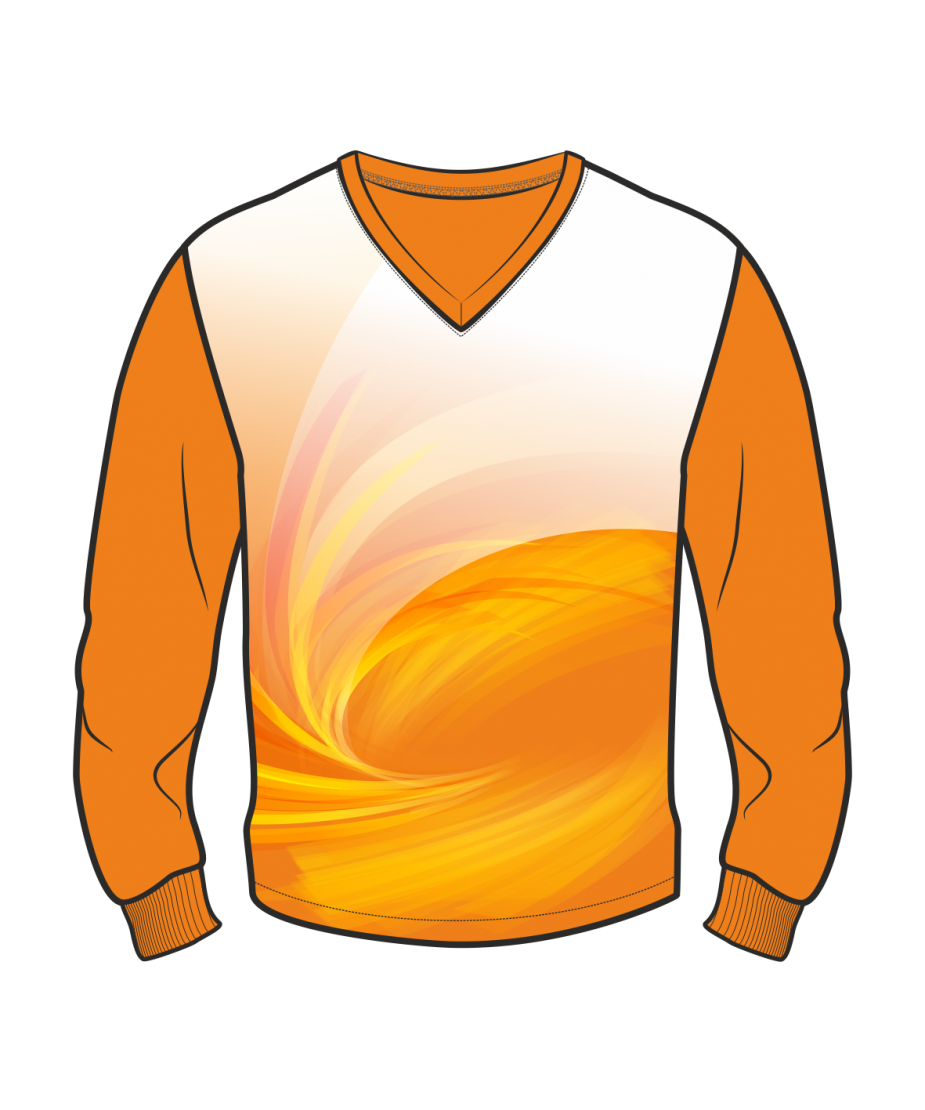 Футболка с длинным рукавом 207 втачной рукав расцветка1 оранжевая