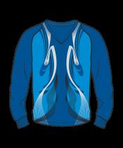 Футболка с длинным рукавом 208 рукав фигурный реглан расцветка3 синяя