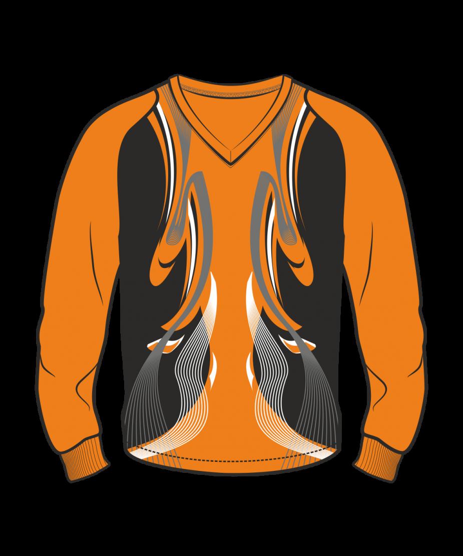 Футболка с длинным рукавом 208 рукав фигурный реглан расцветка3 оранжевая