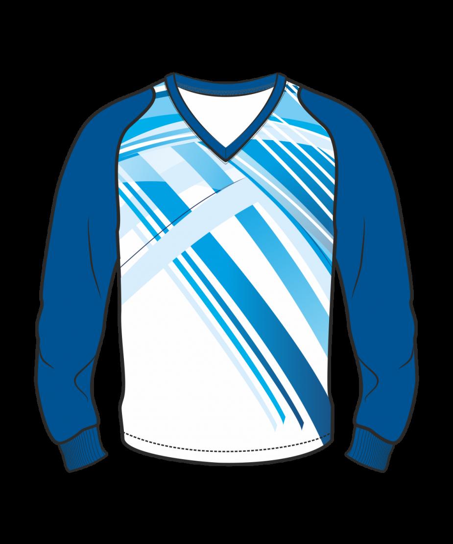 Футболка с длинным рукавом 208 рукав фигурный реглан расцветка4 синяя