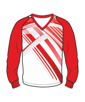 Футболка с длинным рукавом 208 рукав фигурный реглан расцветка4 красная