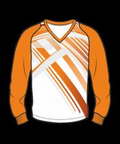Футболка с длинным рукавом 208 рукав фигурный реглан расцветка4 оранжевая