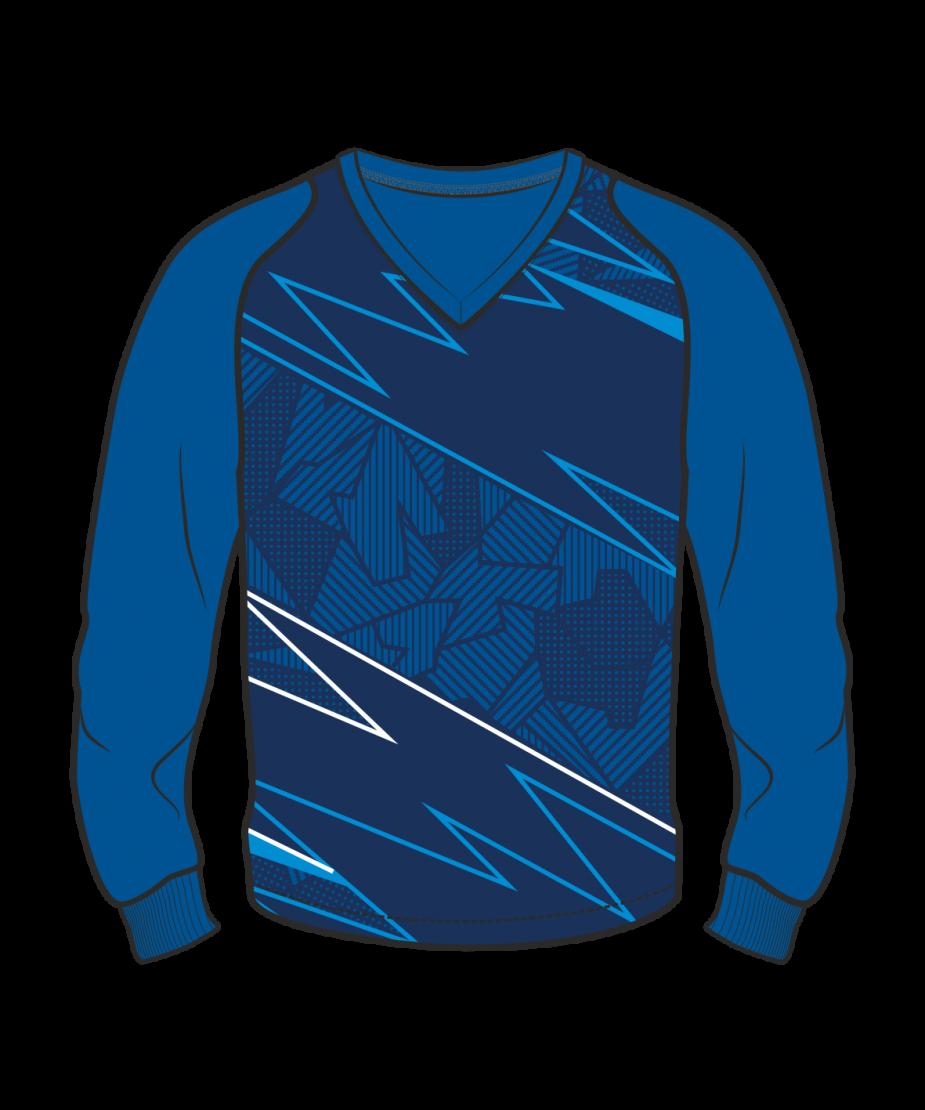 Футболка с длинным рукавом 208 рукав фигурный реглан расцветка1 синяя