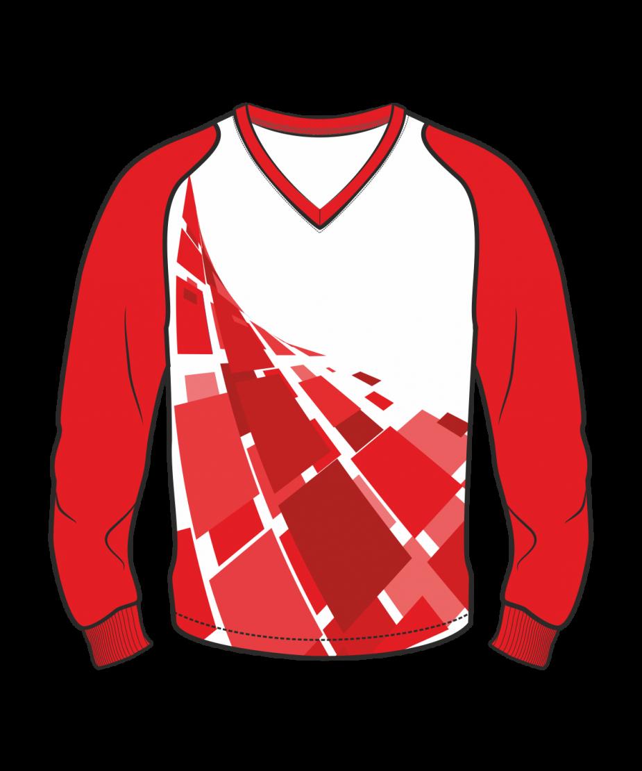 Футболка с длинным рукавом 208 рукав фигурный реглан расцветка5 красная
