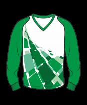 Футболка с длинным рукавом 208 рукав фигурный реглан расцветка5 зеленая