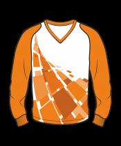 Футболка с длинным рукавом 208 рукав фигурный реглан расцветка5 оранжевая