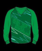 Футболка с длинным рукавом 208 рукав фигурный реглан расцветка1 зеленая