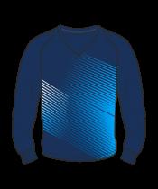 Футболка с длинным рукавом 208 рукав фигурный реглан расцветка2 синяя