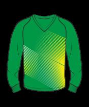 Футболка с длинным рукавом 208 рукав фигурный реглан расцветка2 зеленая